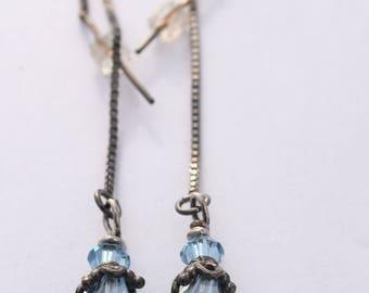 "Swarovksi Crystal Earrings Sterling Silver Ear Threads 2.75"""