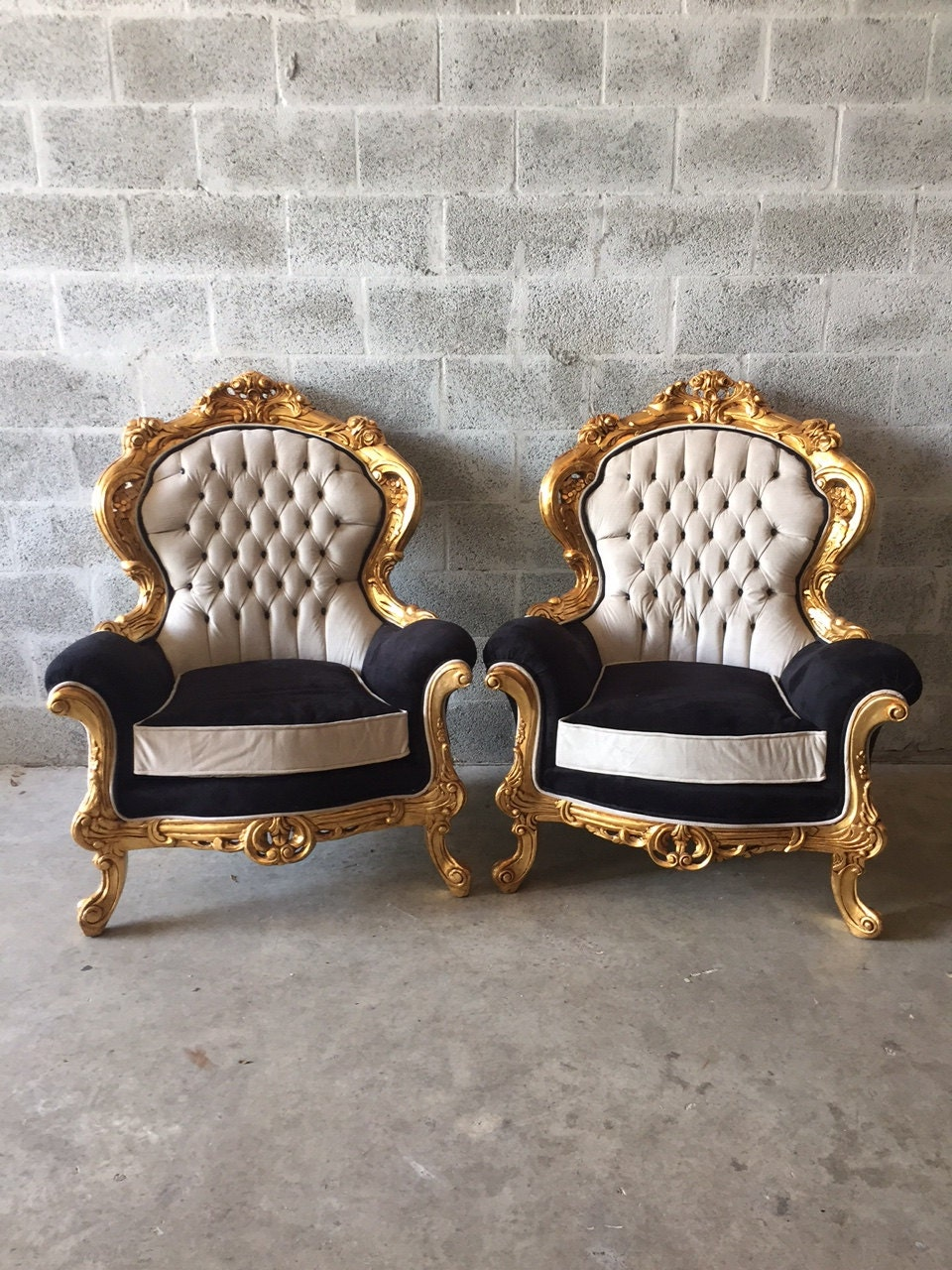 Baroque Tufted Chair Antique Chair Furniture Italian Refinished Gold Leaf  Reupholster Black Velvet Champagne Tufted French Louis XVI Rococo
