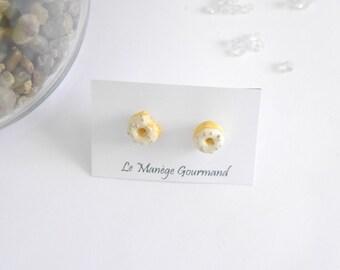 Vanilla donut earrings