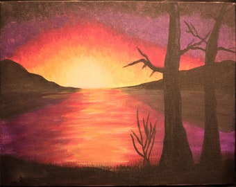 Reflecting Sunset Over Water with Tree Acrylic Painting