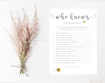 Who Knows The Bride Best Game, EDITABLE, How Well Do You Know The Bride Printable, Printable Bridal Shower Games, Black And Gold, PDF Game