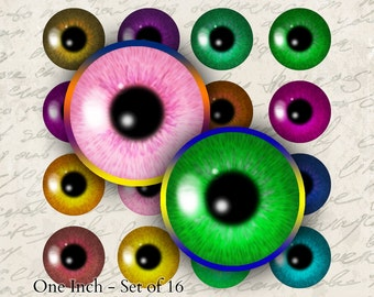 Realistic Eyes pupils - Set of 16 One Inch Circles Printable Download Digital Collage