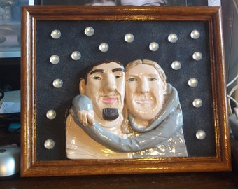 Snuggles, Hugs Hugs Hugs, Custom made One Of A Kind 3D Clay Portrait, Gift For Him, Crystals Stones Back Ground, Custom Request Order,