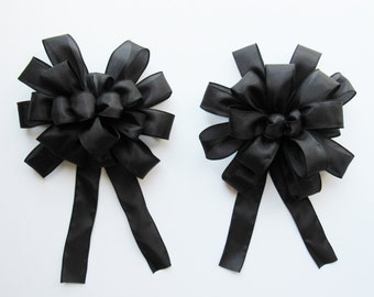 Wired Satin Bow - Black - Satin Bow - 18 or 20 Loops - Shiny Bows - Party Decoration - Wedding - Black Bow