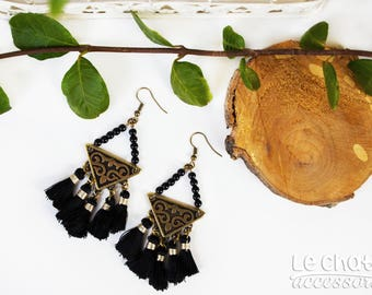 Dangle earrings, Tassel earrings, Bohemian earrings, Gypsy earrings, Gift for her, Black earrings, Ethnik earrings, Statement earrings