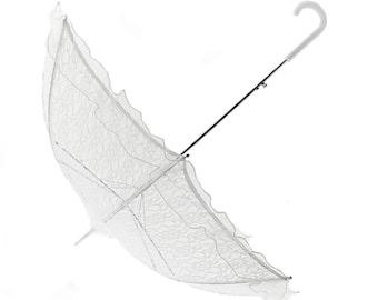 """36"""" White Lace and Organza Baby or Bridal Shower Umbrella"""