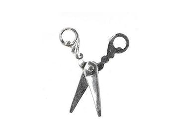 Sterling Silver Movable Scissor Charm For Bracelets