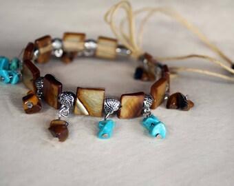 Boho Shell Anklet, Gemstone Anklet, Turquoise Anklet