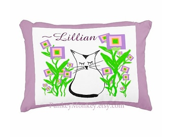 Girls kitty toss pillow kitty cat flowers purple lavender pink green toddler pillow personalized