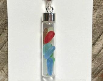 Sea Glass Vial, Red Sea Glass, Sea Glass Pendant, Blue, Green Beach Glass, California Sea Glass, Keepsake, Glass Vial, Sterling Capped Vial