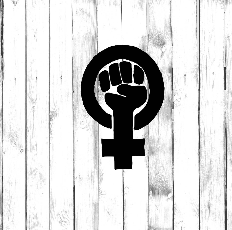 Female power fist symbol emblem decal di cut decal zoom biocorpaavc