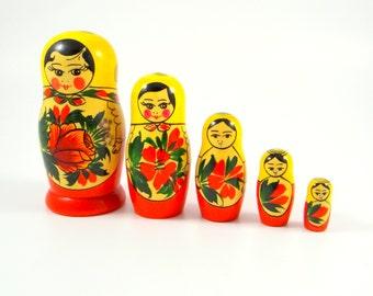 Vintage Russian Nesting Dolls, Hand Painted, Matryoshka Dolls