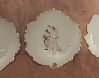 3 Japanese Bride & Groom Wedding Leaf Plates