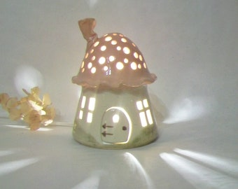 Night Light/ Fairy House / Night Light with a Pink Roof, Mushroom with Starry Sky - Unique, One of a Kind - Ready to Ship