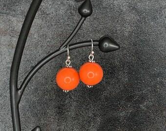 Gumball Earrings, Round Bead Earrings, Orange, Chunky Earrings, Drop Earrings, Dangle Earrings, Silver, Orange Earrings, Ball Earrings