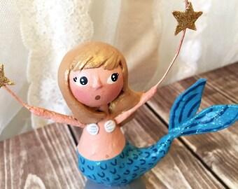 Starry Night Mermaid Figurine - OOAK