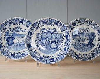 3 REGOUT Fantaisie Delft Dutch Blue wall plates