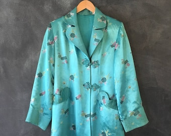 40s Silk Brocade Mandarin Jacket Chinese Embroidered Satin Teal Robe Duster Jacket Ladies Size S.M