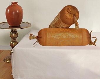 Antic elephant brown silk bolster cover (Pair of 2)