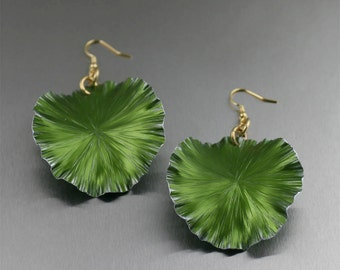 Large Lime Anodized Aluminum Lily Pad Earrings - Green Leaf Earrings -  Green Drop Earrings - Makes a Cool 10th Wedding Anniversary Gift!