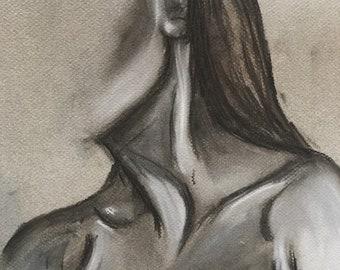 Original Charcoal Collar Bone Drawing