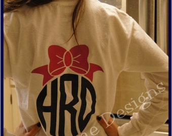 Custom Bow Monogrammed Tee...LONG SLEEVE ... Vinyl Monogram Preppy Bow You Choose Color and Style