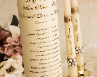 Champagne Wedding Unity Candle Set, Gold Foil Wedding Candles Set, Champagne Unity Candle Set, Personalized Unity Candle Set