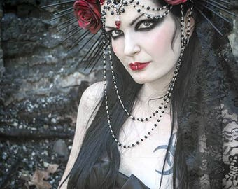 Empress Headdress Red Rose Crown / Black Spiked Halo / Crepuscular Halo / Day of the Dead / Black Veil Goth Headdress ~ MADE TO ORDER