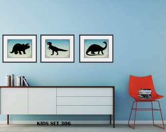 3 Piece DINOSAUR Wall Art Set - ART For CHILDREN- Free Shipping -3 Framed And Matted Prints - Black Or White Frames - Available In 4 Sizes