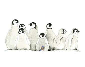 Nursery penguins print, A4 watercolour penguin print, Moseley Mouse series, penguin print