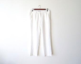 White Linen Pants Summer Pants Women's Pants Low Rise Pants Size Medium