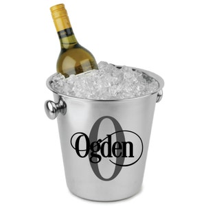 DIY Personalized Decal / Sticker With Monogram Initial And Name For Ice  Bucket Wine Champagne Cooler