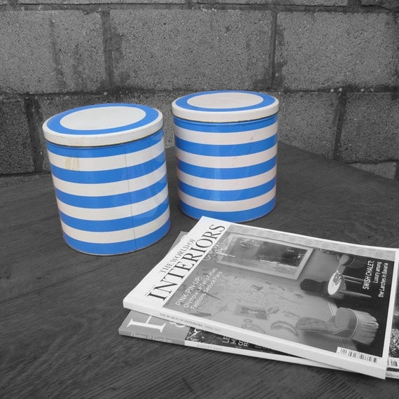 Blue Stripe Kitchen Storage Tins 1960s 1970s Vintage Cans