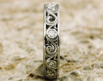 Diamond Wedding Ring in Platinum with Solid Floral Scroll Work Size 5