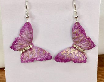 Purple hand painted butterfly earrings with rhinestone centers and sterling silver earwires
