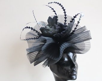 Black fascinator with flower detail