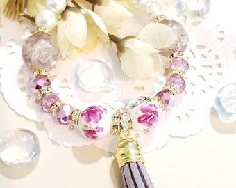 Beaded Bracelet, Tassel Bracelet, Stretch Bracelet, Pastel Beaded Bracelet, Handmade Custom, Women's Jewelry, Bridesmaids