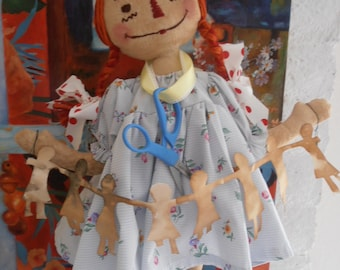 PriMitiVe RaGGedY Ann with Paperdolls EUC EtsY FoLk by Polkadothill reserved for paloma