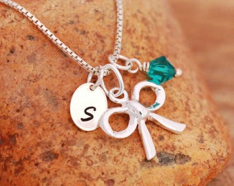 Sterling Silver Ribbon Bow Necklace|Personalised|Silver Bow Necklace|Ribbon Bow Jewellery|Initial Necklace|Birthstone Necklace|Gift for Her
