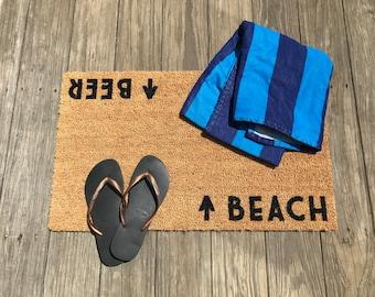 Beach / Beer™ Door Mat (doormat) - beach cottage décor