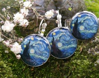 The Starry Night - Van Gogh Earrings - Van Gogh Starry Night - Van Gogh Jewelry - Stary Night Ring - Classic Art Jewelry - Resin Earrings