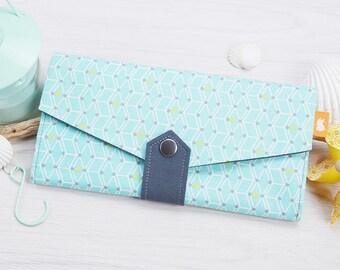 Mint Geometric cube pattern clutch wallet, Mint colour fabric long Wallet, Handmade Geometric travel wallet, Womens credit card wallet