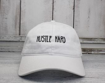 Hustle Hard  Dad Hat Lit Embroidered Baseball Cap Curved Bill 100% Cotton Hustler
