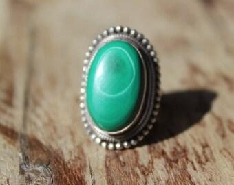 Vintage Sterling and Large Green Turquoise Ring Bezel Set Vintage Ring