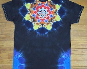 Size L tie dye front and back mandala tshirt OOAK twilightdance