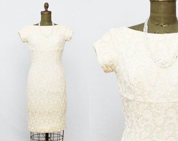 50s Cocktail Dress - Vintage 1950s Pink and Silver Embroidered Party Dress - Size Small Backless Sheath Dress