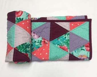 Modern Quilt, Triangle Quilt, Modern Baby Quilt, Baby Blanket, Bedding, Nursery, Crib, Lap Quilt, Floral