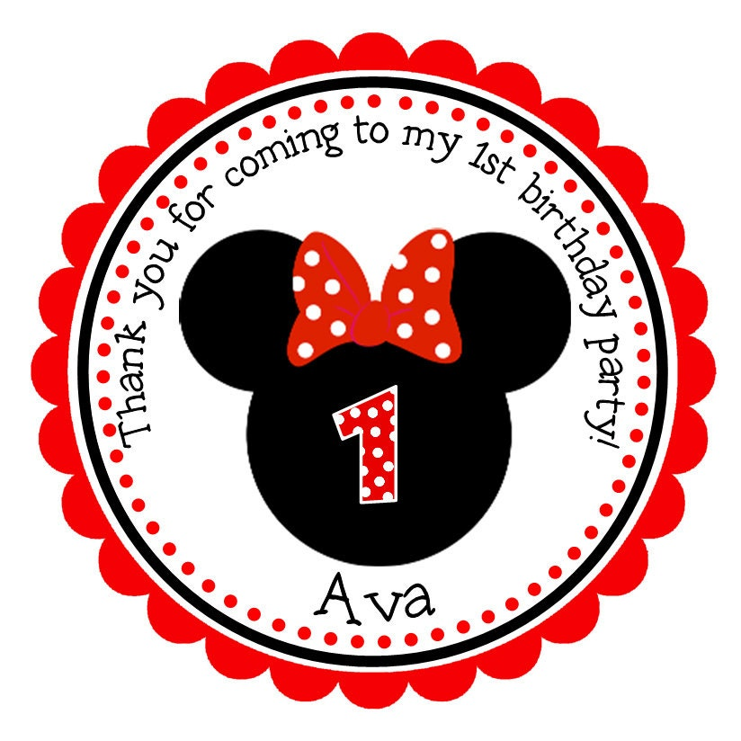 Personalized Minnie Mouse Stickers Gift Tags Party Favors Address