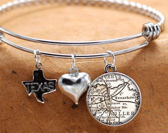 Map Charm Bracelet Texarkana Texas State Of TX Bangle Cuff Bracelet Vintage Map Jewelry Stainless Steel Bracelet Gifts For Her