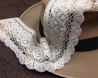 Ivory cotton lace, Scalloped Edge Cotton Trim, 3 Inch Crochet Lace, Cotton lace, Wide Lace, Washable Lace, Wedding supplies, Bridal Lace-Y06